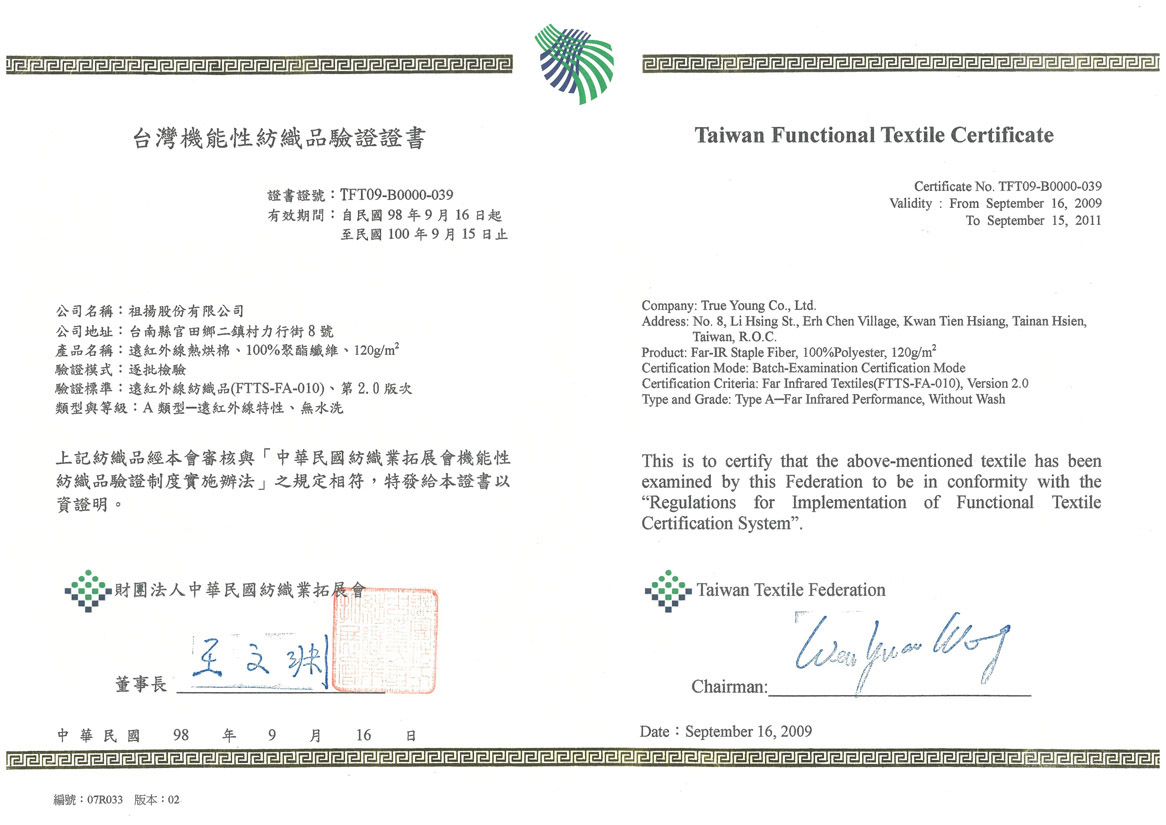Functional Textile Certificate